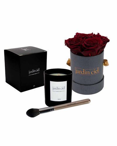 Giftset | Infinity Rosebox Royal Red Gr. Small + Candle + Infinity Brush - Jardin Ciel GmbH