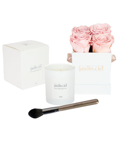 Giftset | Infinity Rosebox Bridal Pink Gr. Small+ Candle + Infinity Brush - Jardin Ciel GmbH