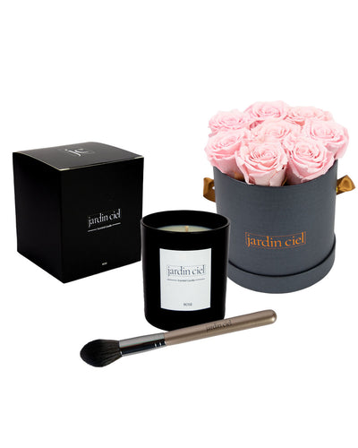 Giftset | Infinity Rosebox Gr. Medium Bridal Pink + Candle + Infinity Brush - Jardin Ciel GmbH