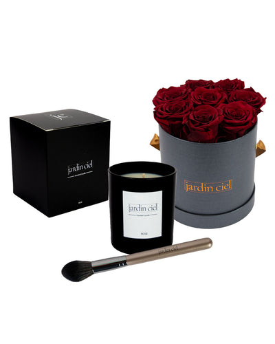 Giftset | Infinity Rosebox Gr. Medium Royal Red + Candle + Infinity Brush - Jardin Ciel GmbH