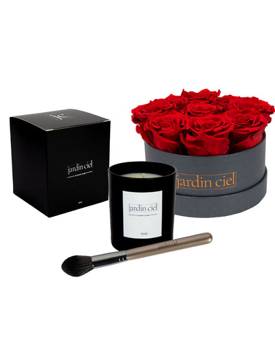 Giftset | Infinity Rosebox Table Size Gr. Medium Romantic Red + Candle + Infinity Brush - Jardin Ciel GmbH