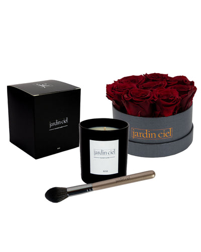 Giftset | Infinity Rosebox Table Size Gr. Medium Royal Red + Candle + Infinity Brush - Jardin Ciel GmbH