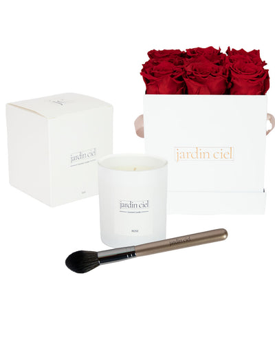 Giftset | Infinity Rosebox Gr. Medium Romantic Red + Candle + Infinity Brush - Jardin Ciel GmbH