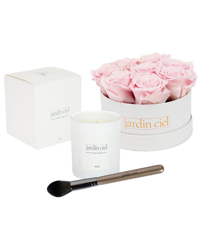Giftset | Infinity Rosebox Table Size Gr. Medium Bridal Pink + Candle + Infinity Brush - Jardin Ciel GmbH
