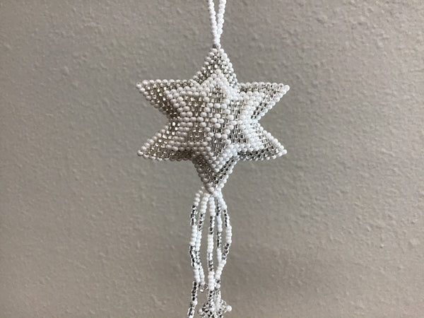 Beaded White Star Ornaments