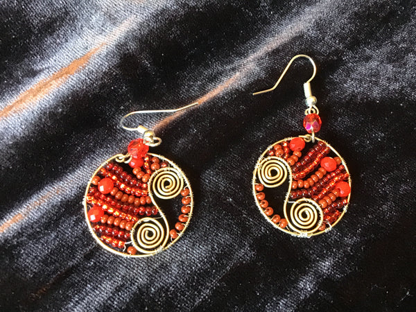 Red Round Drops Earrings