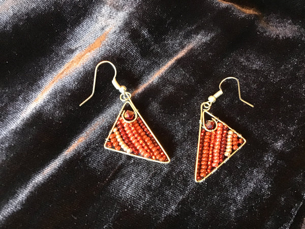 Red Triangle Earrings