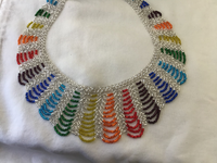 White w/color Scalloped Necklace