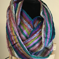 Purple Muted Stripe Infinity Rayon Scarf