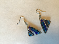 Blue Triangle Earrings
