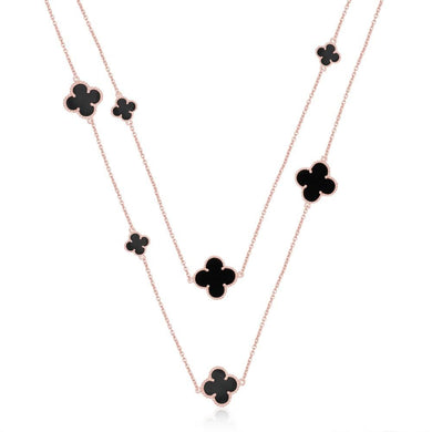 Quatrefoil Chain: Black Onyx (Pure Silver Rose Gold vermeil) - Sage & Barrel