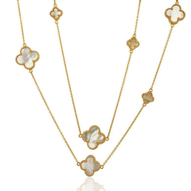 Quatrefoil Chain: Mother Of Pearl (Pure Silver 22k Gold vermeil) - Sage & Barrel