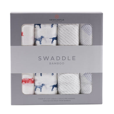 Fire Truck and Dalmatian Swaddle Four Pack - Sage & Barrel
