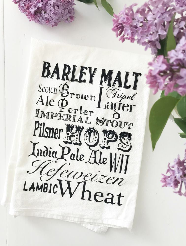 Beer Words Cotton Kitchen Towel - Sage & Barrel