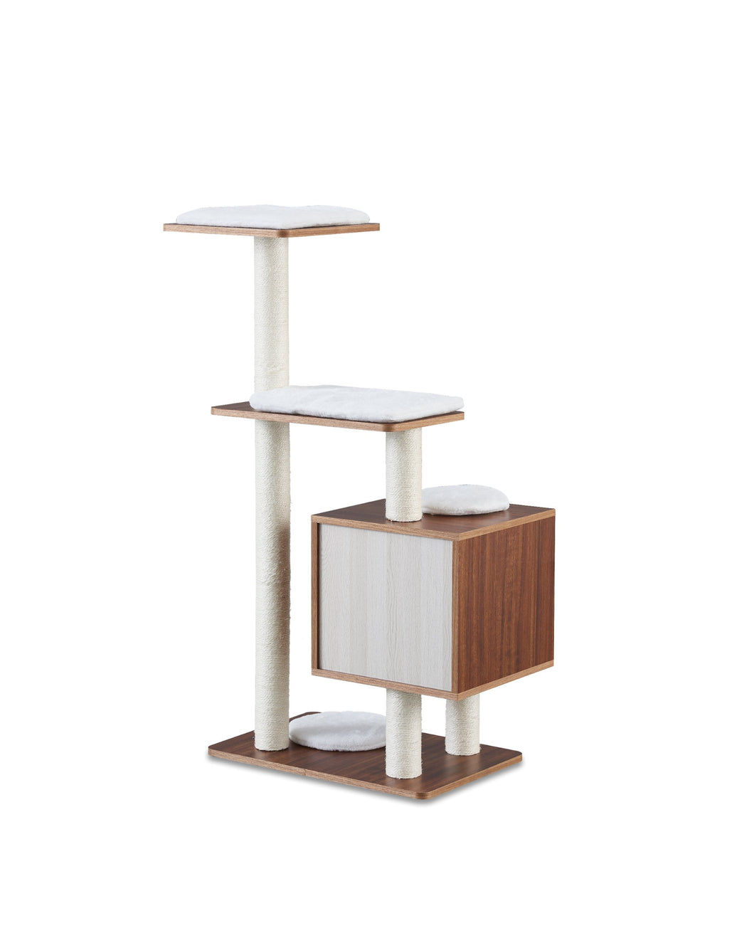 Sweet Barks Elegant Wooden Modern Cat Tree Cat Condo Multi-Level Towers Cat Activity Tower with Scratching Posts, with Removable and Washable Mats