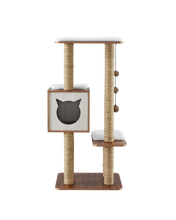 Load image into Gallery viewer, Elegant Wooden Modern Cat Tree Cat Condo Multi-Level Towers Cat Activity Tower with Scratching Posts, with Removable and Washable Mats (High Tower)