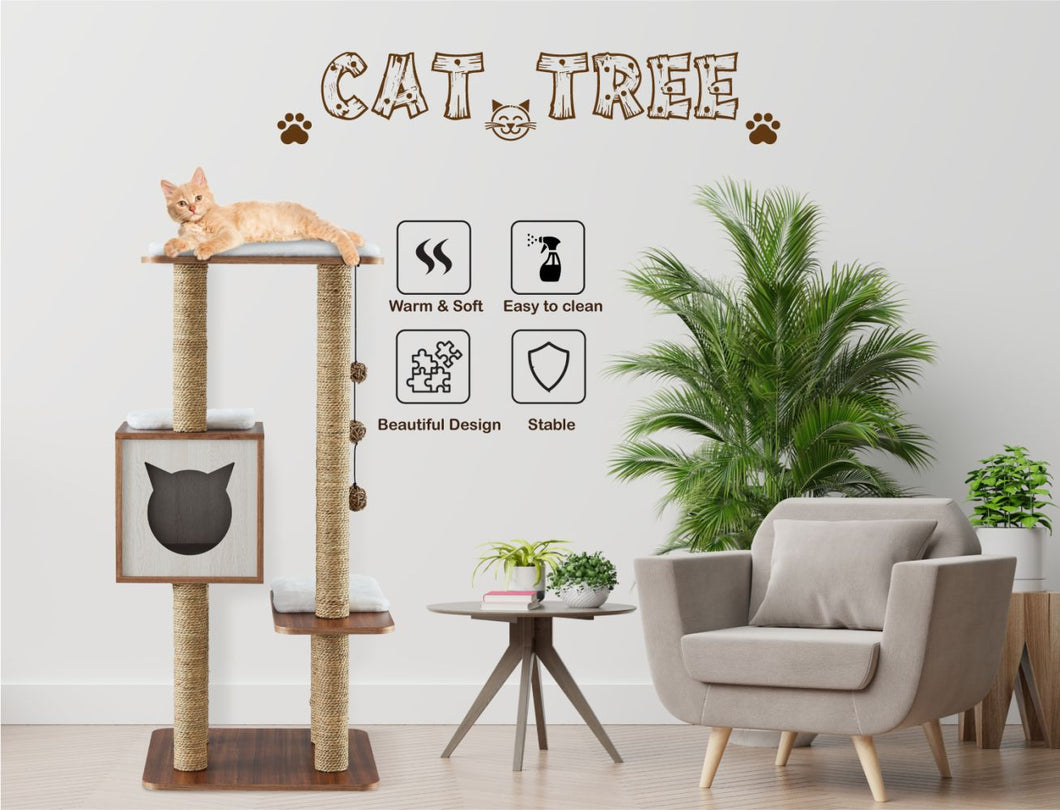 Elegant Wooden Modern Cat Tree Cat Condo Multi-Level Towers Cat Activity Tower with Scratching Posts, with Removable and Washable Mats (High Tower)