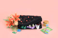Multipurpose Pouch (3 Zip - Small) - Black Blossom