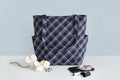 Shoulder Bag (Side Pocket) – Blue Checks