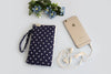 Cell Phone Pouch – Navy Blue Dots