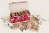 Earring Organiser - 12 Detachable pouch (Red Flowers)