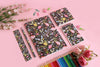 Stationery Set - Black Floral