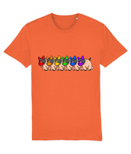 Load image into Gallery viewer, Gay pups lined up each wearing a coloured mask that makes up the Gay flag on a orange t-shirt