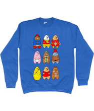 Load image into Gallery viewer, A collection of famous cartoon bears on a blue sweater