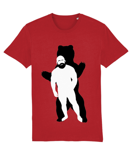 White silhouette of hairy bearded gay with shadow of bear behind on red t-shirt