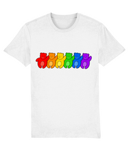 Load image into Gallery viewer, Line up of bears in the pride flag colours on white t-shirt