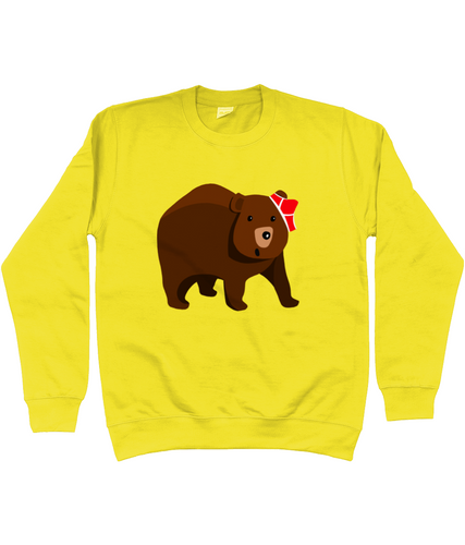Big brown bear with red pants on his head on a yellow sweater