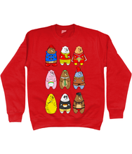 Load image into Gallery viewer, A collection of famous cartoon bears including a bear pride bear and a leather bear on a red sweater