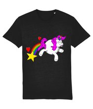 Load image into Gallery viewer, Gay unicorn farting a rainbow, star and hearts on a black t-shirt