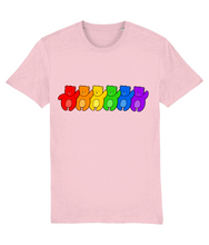 Load image into Gallery viewer, Line up of bears in the pride flag colours on pink t-shirt