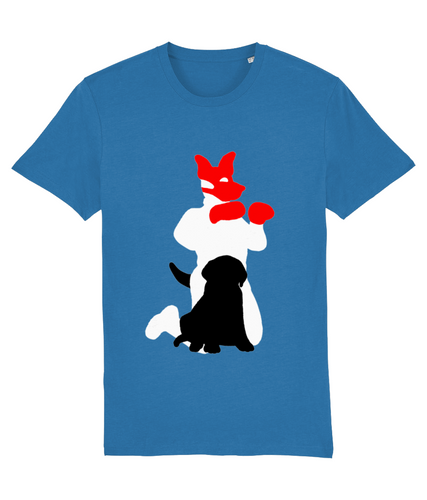White silhouette of gay man in pup gear with red hood with black shadow of pup infront on blue t-shirt