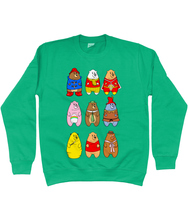 Load image into Gallery viewer, A collection of famous cartoon bears on a green sweater