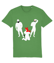 Load image into Gallery viewer, White silhouette of hairy bearded gay bear and gay otter and gay pup on green t-shirt