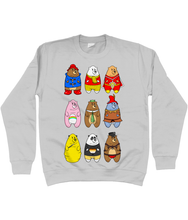 Load image into Gallery viewer, A collection of famous cartoon bears including a bear pride bear and a leather bear on a grey sweater