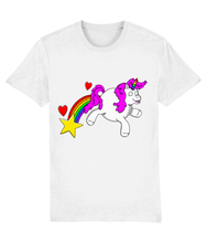 Load image into Gallery viewer, Gay unicorn farting a rainbow, star and hearts on a white t-shirt