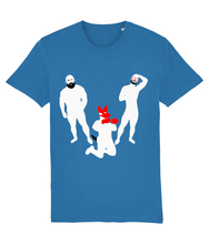 Load image into Gallery viewer, White silhouette of hairy bearded gay bear and gay otter and gay pup on blue t-shirt