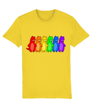 Load image into Gallery viewer, Otters in the Gay Pride flag colours on a yellow t-shirt