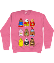 Load image into Gallery viewer, A collection of famous cartoon bears including a bear pride bear and a leather bear on a pink sweater