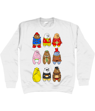 Load image into Gallery viewer, A collection of famous cartoon bears including a bear pride bear and a leather bear on a white sweater
