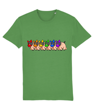 Load image into Gallery viewer, Gay pups lined up each wearing a coloured mask that makes up the Gay flag on a green t-shirt