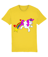 Load image into Gallery viewer, Gay unicorn farting a rainbow, star and hearts on a yellow t-shirt