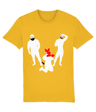 Load image into Gallery viewer, White silhouette of hairy bearded gay bear and gay otter and gay pup on yellow t-shirt