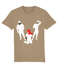 Load image into Gallery viewer, White silhouette of hairy bearded gay bear and gay otter and gay pup on camel t-shirt