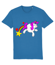 Load image into Gallery viewer, Gay unicorn farting a rainbow, star and hearts on a blue t-shirt