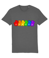 Load image into Gallery viewer, Line up of bears in the pride flag colours on grey t-shirt