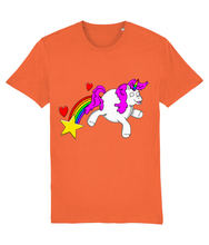 Load image into Gallery viewer, Gay unicorn farting a rainbow, star and hearts on a orange t-shirt